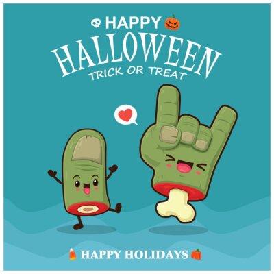 Rocznika Halloweenowy plakatowy projekt z wektorowym palca zombie charakterem.