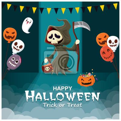 Rocznika Halloweenowy plakatowy projekt z wektorowym żniwiarki charakterem.