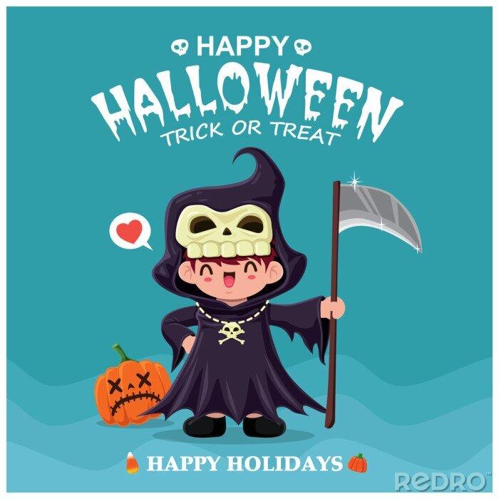 Plakat Rocznika Halloweenowy plakatowy projekt z wektorowym żniwiarki charakterem.