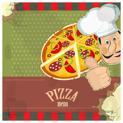 Plakat rocznika menu - szef kuchni ipizza na tle grunge