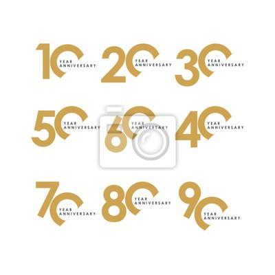 Plakat Rok rocznicy zestaw ilustracji wektorowych szablon projektu