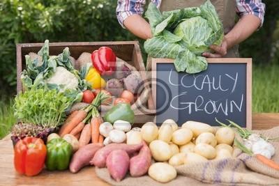 Plakat Rolnik sprzedaje warzywa na rynku ekologicznej