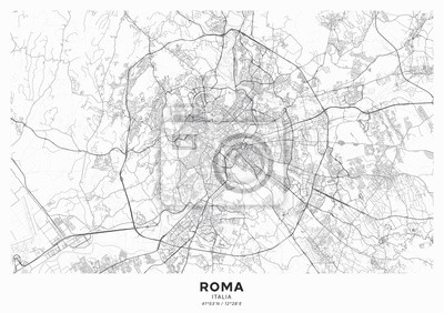 Plakat Rome city map poster. Detailed map of Rome (Italy). Transport system of the city. Includes properly grouped map features (water objects, railroads, roads etc).