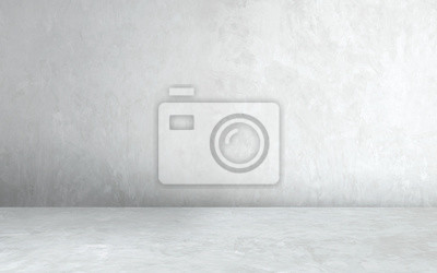 Plakat Room empty of cement floor with gray room cement or concrete wall texture background and sun light.