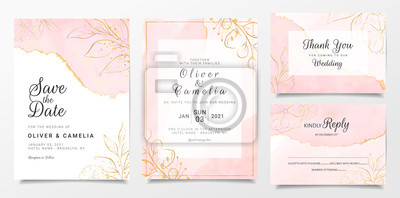 Plakat Rose gold watercolor wedding invitation card template set with golden floral decoration. Abstract background save the date, invitation, greeting card, multi-purpose vector