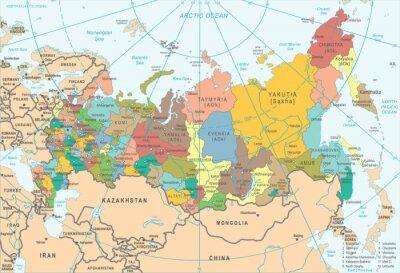 Plakat Rosja Mapa - Ilustracji Wektorowych