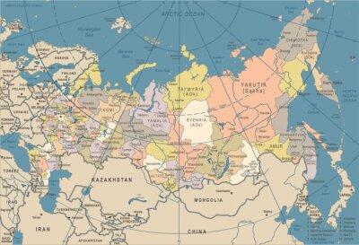 Plakat Rosja Mapa - Vintage Ilustracji Wektorowych