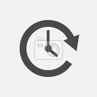 Plakat rotating time arrow with tick clock vector icon