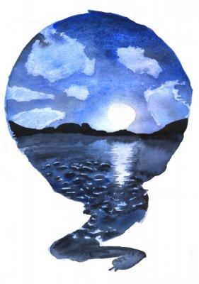 Plakat round watercolor drawing landscape nature, lake, night, full moon