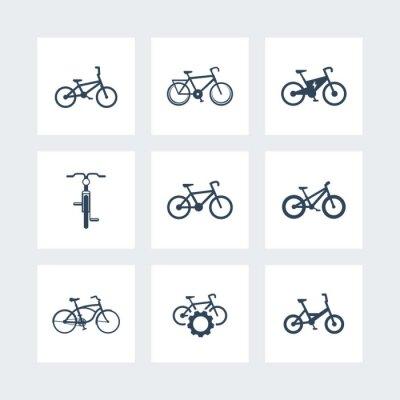 Plakat rower, kolarstwo, rower, rower elektryczny, rower tłuszczach proste ikony, ilustracji wektorowych