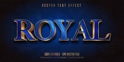 Plakat Royal text, blue color and shiny gold style editable text effect