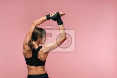 Plakat Rozciągać. Sport kobiety rozciąganie Przed Trenować