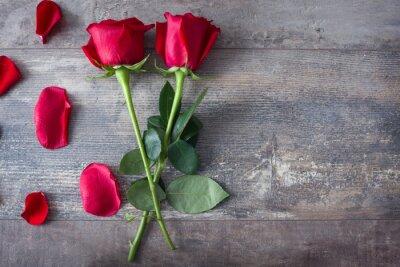 Plakat Róże i płatki na drewnie