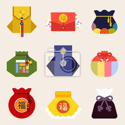 Plakat Różne formy koreańskich tradycyjnych kieszeni. Płaska konstrukcja ilustracja wektorowa styl graficzny.