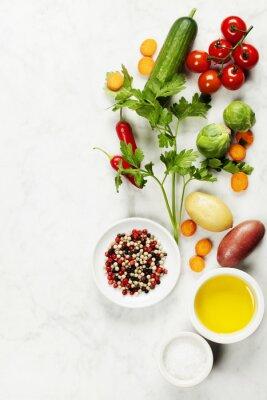 Plakat Różne kolorowe przyprawy i warzywa