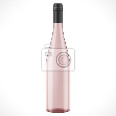 Plakat Różowy Kieliszek Do Wina Butelka Cydru Ilustracja Na Białym