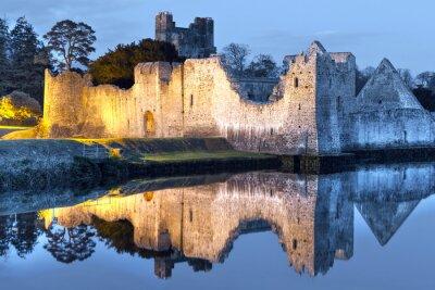 Plakat Ruiny zamku Adare na rzece w Irlandii