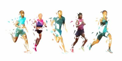 Plakat Run, group of running people, low poly vector illustration. Geometric runners