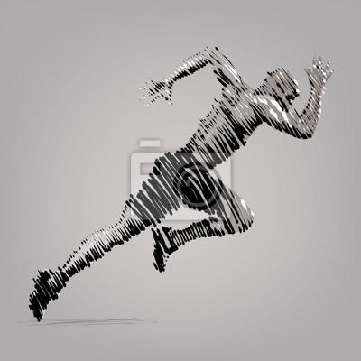 Running Man. Grafiki wektorowej w stylu rysunku tuszem