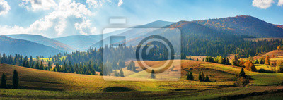 Plakat rural area of carpathian mountains in autumn. wonderful panorama of borzhava mountains in dappled light observed from podobovets village. agricultural fields on rolling hills near the spruce forest