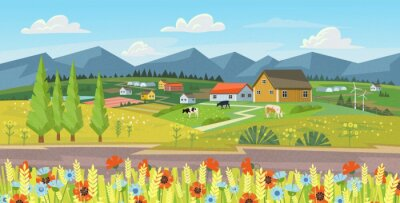 Rural landscape with field, flovers, grass and cows. Ecologically clean area with blue sky and clouds. Village in the summer. Vector stock flat style illustration or background for eco products, banne