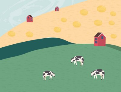 Rural landscape with field, haystack, grass, cows and farm house. Ecologically clean area with blue sky and clouds. Village in the summer. Flat vector illustration in cartoon style