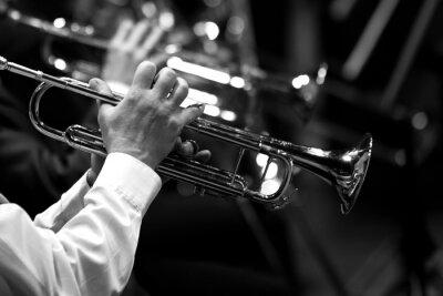 Plakat Rury w rękach muzyków w orkiestrze w czerni i bieli