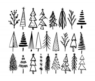 Plakat Rustic Christmas tree winter forest vector  card hand drawn