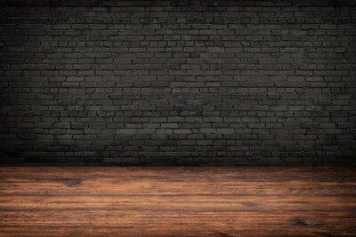Plakat rustic interior, old wood floor and black brick wall