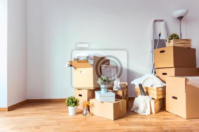 Plakat Ruszaj się. Skrzynki kartonowe i rzeczy do sprzątania w celu przeprowadzki do nowego domu