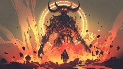 Plakat rycerz z mieczem zwróconym w stronę demona lawy w piekle, cyfrowy styl sztuki, malowanie ilustracji