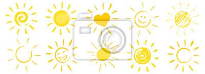 Plakat rysowane ikony słońce