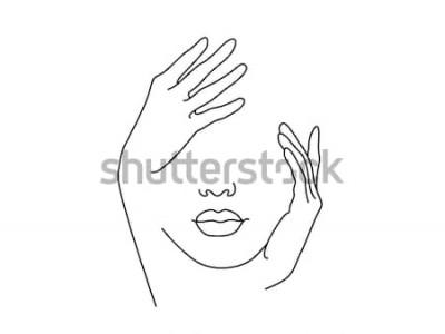 Plakat Rysowanie linii Twarz kobiety z ręki. Ilustracji wektorowych. Koncepcja logo, karty, baner, ulotka plakat