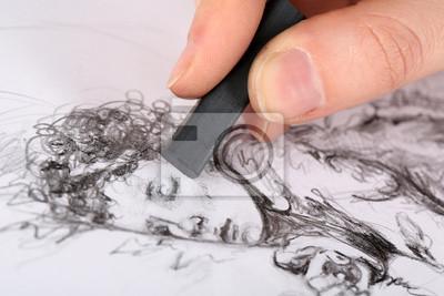 Plakat Rysunek obrazu węglem rysunku samodzielnie na białym tle