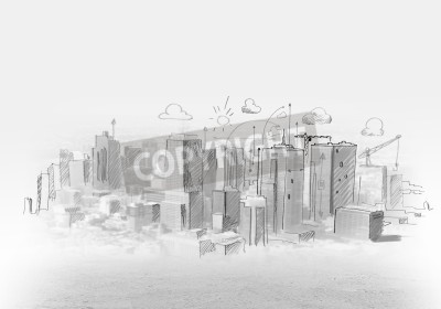 Plakat rysunek ręka miejskie sceny Budowa koncepcji