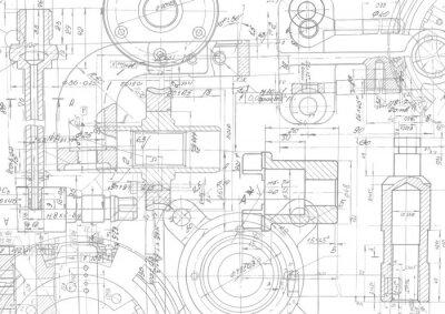 Plakat Rysunek techniczny tło. Inżynieria mechaniczna rysunek