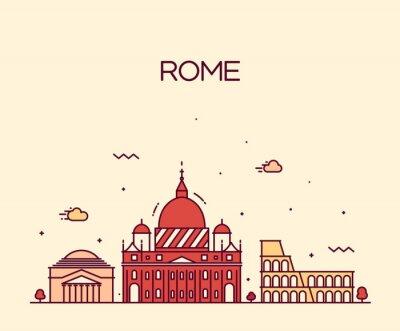 Plakat Rzym City skyline szczegółowe wektor sztuki styl linii