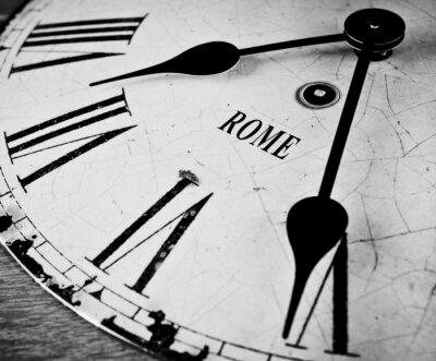 Plakat Rzym czarno-biały zegar twarz