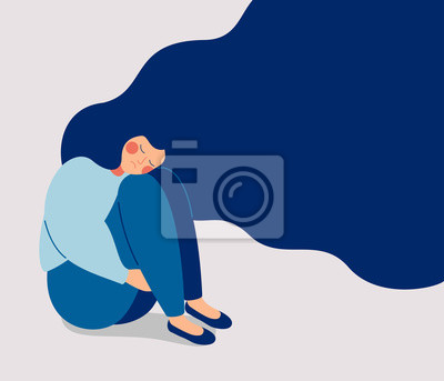 Plakat Sad lonely Woman in depression with flying hair. Young unhappy girl sitting and hugging her knees. Depressed teenager. Colorful vector illustration in flat cartoon style