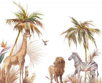 Plakat Safari wildlife wallpaper. Illustration with zebra, lion and giraffe. Watercolor animal and jungle flora on white background.