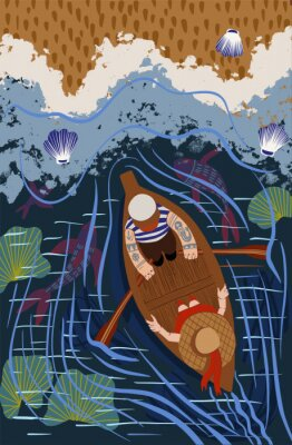 Plakat Sailor is sailing in a boat on the sea. Boat trip. View from above. Flat cartoon vector illustration.