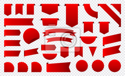 Plakat Sale and New Label collection set. Sale tags 30, 50, 70. Discount red ribbons, banners and icons. Shopping Tags. Sale icons. Red isolated on white background, vector illustration.