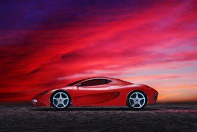 Plakat Samochód sportowy na malowniczym brzegu chmur