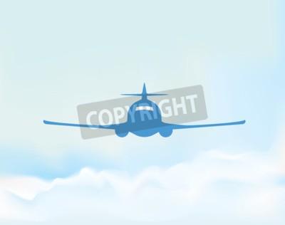 Plakat Samolot na niebie ilustracji