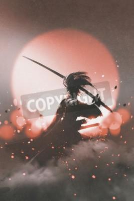 Plakat samurai with sword standing on sunset background,illustration painting