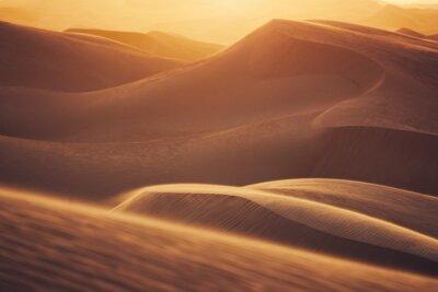 Plakat Sand dunes in desert landscape at sunset