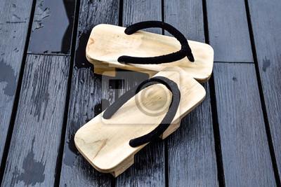 Modernistyczne Plakat Sandały buty drewniane, styl japoński na wymiar • czarny FD47