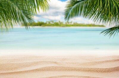 Plakat Sandy tropikalna plaża z wyspy na tle