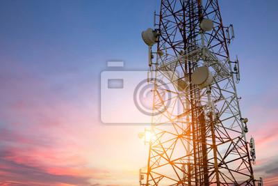 Plakat Satellite dish telecom network at sunset communication technolog