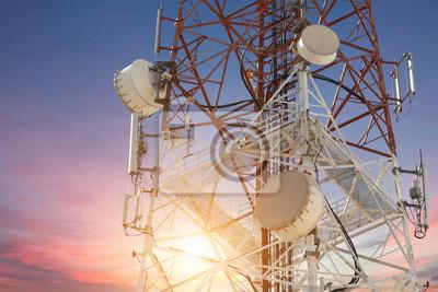 Plakat Satellite dish telecom tower at sunset